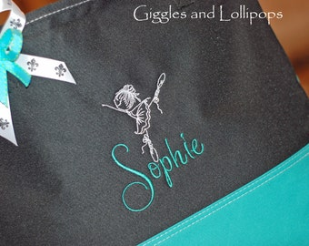 Girls personalized dance ballet jazz class tote bag purple Teal Aqua