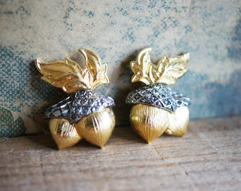 Vintage Avon Acorn Earrings | Clip On | Silver Tone and Gold Tone | Faux Marcasite Stones | Fall Fashion | Autumn Accessory