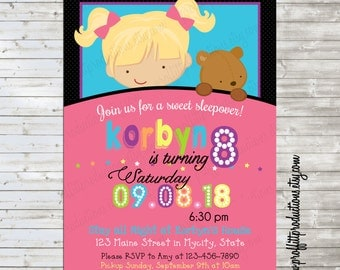 Sweet sleepover girl birthday party invitation - digital file