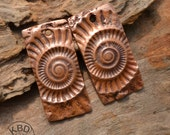 Handmade Copper Ammonite Rectangle Component pair (1 pair)