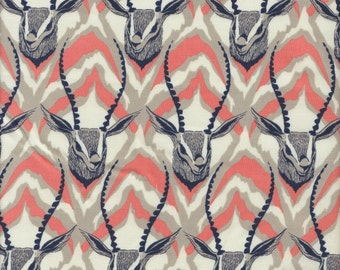 Cotton + Steel Sarah Watts August Antelopes in Coral and Navy - Half Yard