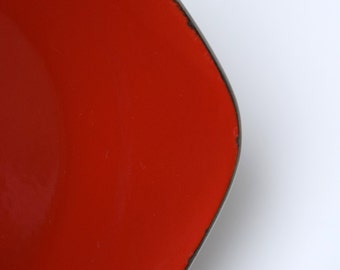 Cathrineholm Square Plate, Red Enamel on Stainless Steel, 6 Inch Dish, 1958 Made In Norway, Personalized on Back