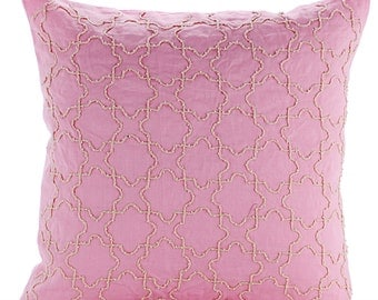 "Luxury Pink Throw Pillow Covers, 16""x16"" Cotton Linen Pillows Cover, Square  Jute Lattice Trellis Pillow Covers - Pink Italy"
