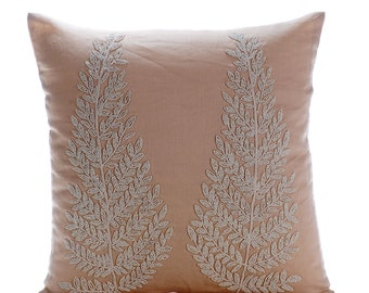 Decorative Throw Pillow Covers Accent Pillow Couch Sofa Pillow Case 16x16 Beige Linen Pillow Cover, Cord & Bead Embroidered Morning Angel