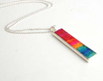 Sunset Dreams Rectangle Pendant Necklace - Shades of the sunset captured in a piece of wearable felt art. Sunset Necklace. Sunset Pendant.