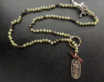 """Bronze Guanyin Medallion Slide Necklace with Mystic Peridot and Pyrite- 20"""""""