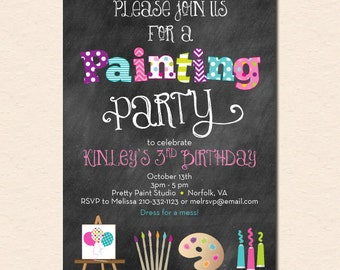 Painting Art Party Invitation - Chalkboard Style with Art Canvas, Brushes, Palette and Paints