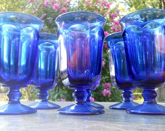 Blue Water Glasses by Imperial Williamsburg- Ice Tea Glasses, Cobalt Blue Pedestal Stemware,Goblets - Set of 6  Tall Wine Glasses, Barware
