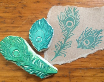 Peacock Feathers Rubber Stamp Set