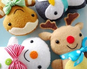 Christmas Softies Sewing Pattern - Tutorial - PDF ePATTERN - Gingerbread Man, Penguin, Snowman & Reindeer