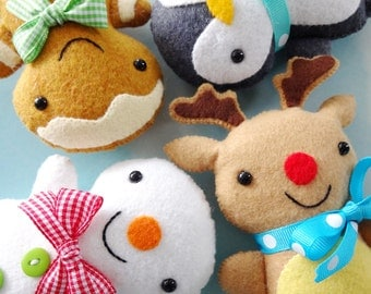 Christmas Softies Toy Sewing Pattern - Tutorial - PDF ePATTERN - Gingerbread Man, Penguin, Snowman & Reindeer