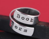 Book Worm Wrap Ring - Hand Stamped Twist Ring - Book Lover - Mother's Day Gift for Reader