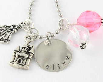 Princess Personalized Charm Necklace for Children - Handstamped Custom Necklace for Girls - Christmas Gift