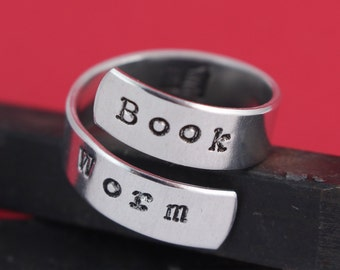 Book Worm Ring - Wrap Ring - Twist Ring - Book Lover - Mother's Day Gift for Reader - Handstamped Ring - Size 6, 7, 8, 9, 10, 11, 12, 13, 14