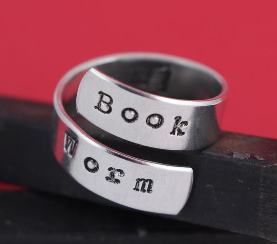 Book Worm Wrap Ring - Hand Stamped Twist Ring - Book Lover - Valentine's Day Gift for Reader - Handstamped Ring - Size 6 7 8 9 10 11 12 13