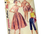 1950s VIntage Sewing Pattern Skirt Top Pedal Pushers Shorts / Mother Daughter Pattern / Simplicity 4290 Size 14