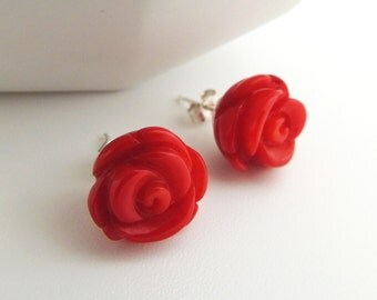 Red Rose Stud Earrings -- Carved Coral Flower Cabochons -- Sterling Silver Posts -- UK Seller