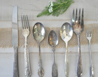 ANTIQUE-- shabby chic tarnished vintage spoons, forks and knives--flatware, jewelry supplies, garden marker supplies