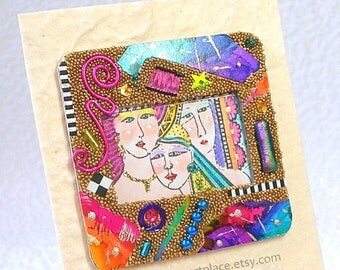 Original Collage Art Card, Mixed Media ACEO in rainbow colors, Women, Mother, Sisters, Friends theme
