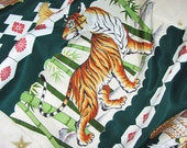 Vintage Japanese Boy's Chrystening Kimono Silk Lucky and Auspicious Banded Tiger, Hawk. Dragon Fish and Pine 60ins long