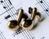 Miniature Music Note Stud Earrings in Gold - For the Musically Inclined