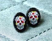 Earrings - Seriously Small Sugar Skull Studs on Jet Black