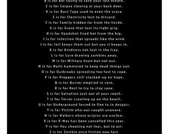 A to Zombie 12x16 Alphabet Poster
