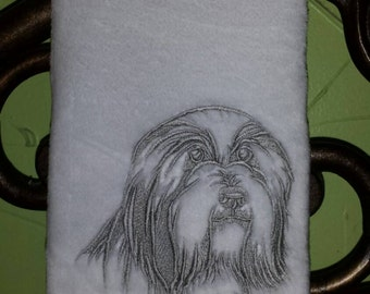 Embroidered Bearded Collie decorative hand Towel