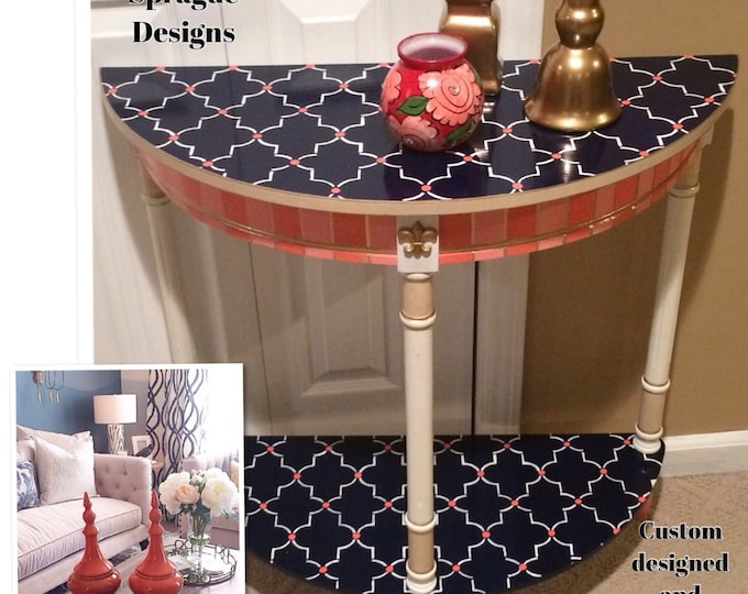 Whimsical Painted Furniture, Whimsical Painted Table // Whimsical Painted Furniture // Painted Half Moon table
