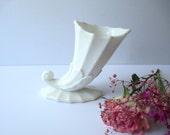 Vintage Milk Glass Cornucopia Vase