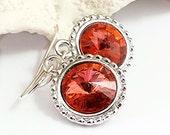 Padparadscha Swarovski Crystal Earring/Crystal Rivoli Earring/Swarovski Crystal Jewelry/Orange Crystal Rivoli/Pink Rivoli Crystal/Glass