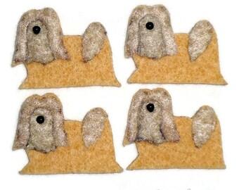 LHASA APSO or Shih Tzu Felt Dog Shape for Bead Embroidery, Making Beaded Animals, Crafting, or Embellishment