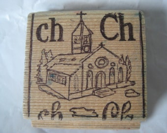 Ch Church Stamp Rubber Wood Vintage