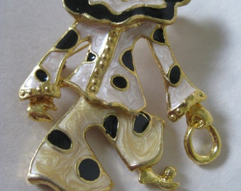 Clown Off White Black Brooch Gold Vintage Pin Circus Enamel Dangle