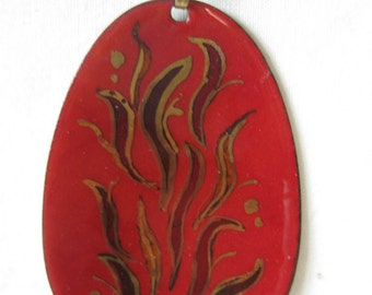 Red Gold Copper Enamel Necklace Vintage Pendant