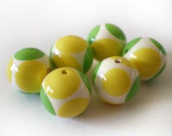 12mm Yellow Green White Polka dot Acrylic beads - 8pcs