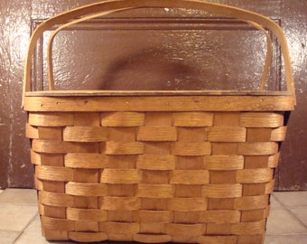 Solid vintage woven ash picnic basket with hinged lid and place on lid for utensils