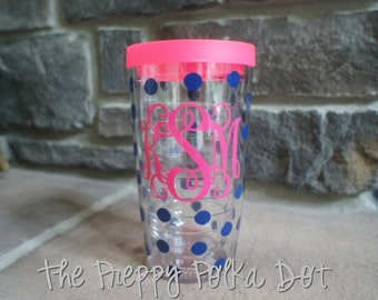 Monogram 16oz Tervis Tumbler Cup - With Polka Dots