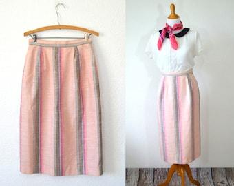 20 DOLLAR SUPER SALE! Blush Pink Striped Skirt - Striped Linen Skirt - Blush Pink Pencil Skirt - Pink Midi Skirt