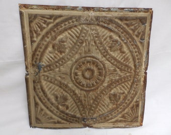 "Antique Salvaged Decorative Tin Ceiling Tile 12""x12""  Craft Project  2551-15"