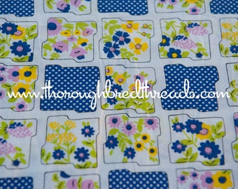Tulips Daisies and Dots- Vintage Fabric Mod Juvenile Floral Novelty