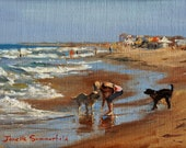 Seascape Oil Paintings of Beaches, Small Oil Painting of Dogs Playing Fetchgt on the Beach, Sandbridge Beach Painting by Jonelle Summerfield