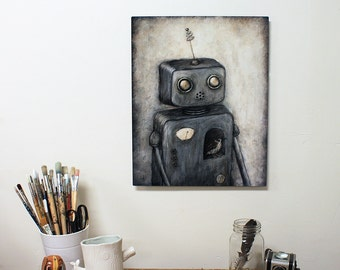 Rupert (Robot no.5) Limited Edition Print on Metal - robot art, 16x20 robot painting