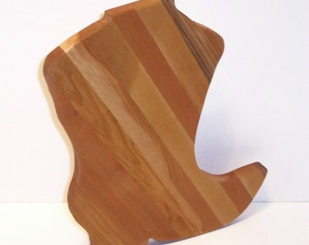 Western Boot Cutting Board (Large) Handcrafted from Mixed Hardwoods