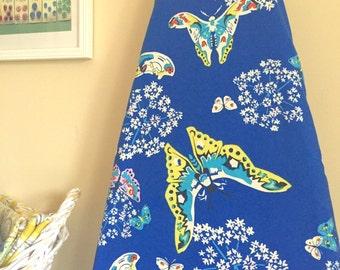 Ironing Board Cover - Organic - Amy Butler Queen Ann's Butterflies in Sapphire