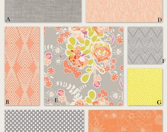 Peach, Coral and Gray Baby Crib Nursery Bedding Girl Woodland Nature Floral Themed - Hidden Woodland in Peach