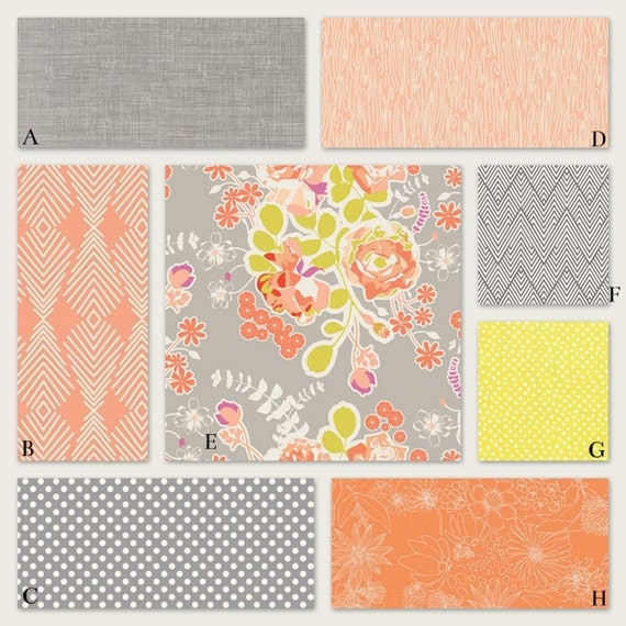 peach coral and gray baby crib nursery bedding girl woodland. Black Bedroom Furniture Sets. Home Design Ideas