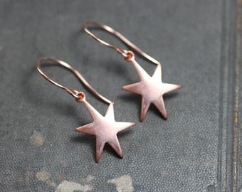 Copper Star Earrings Sanded Copper Earrings Solar Starburst Rustic Jewelry Rose Gold