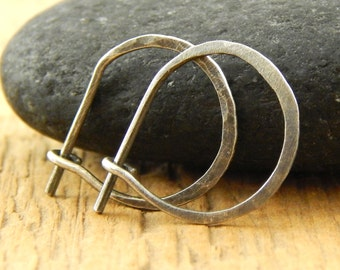 Small silver hoops, *thicker 18 gauge* 1/2 inch hoops, OXIDIZED 0.5 inch hoops, tiny sterling silver perfect hoops, hammered, ONE pair.