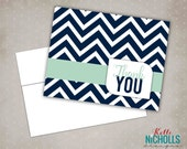 Mint & Navy Blue Chevron Thank You Cards, Wedding or Bridal Shower Thank You Notes, with Envelopes